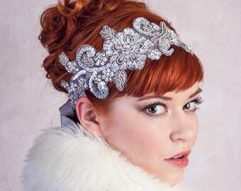 Ice Queen Rhinestone Headband Matte Silver Great Gatsby Flapper