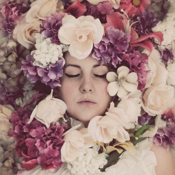Flower Portrait, Surreal Portrait, Fine Art Photo, Pink, Purple, Pastel Flowers, Bedroom Decor, Dreamy, Ethereal
