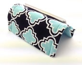 Business Card Holder or Card Stand Reversible Blue and Black Tiles