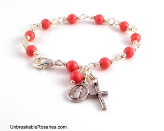 Virgin of Lourdes Rosary Bracelet In Soft Pink Czech Glass Beads by Unbreakable Rosaries