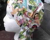 Prefitted Chemo hat - Hawaiian Kekeis adult size cotton broadcloth