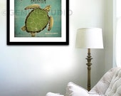 Shedd Aquarium Green Sea Turtle graphic illustration giclee archival artist's print by stephen fowler Pick A Size
