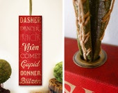 Reindeer names Christmas Holiday typography HANGING signage graphic artwork on gallery wrapped canvas