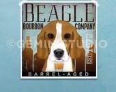 Beagle Bourbon Whiskey company artwork dog graphic illustration signed archival artists print giclee