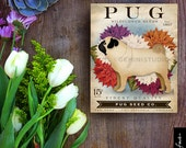 Pug Dog Seed Company dog illustration graphic art on canvas panel by stephen fowler Pick A Size