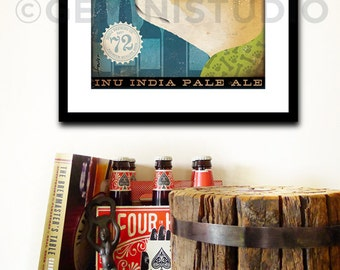 Shiba Inu Brewing Company dog graphic illustration giclee archival signed artist's print