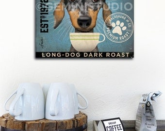 Dapple Dachshund Coffee Company dog graphic art on gallery wrapped canvas by Stephen Fowler