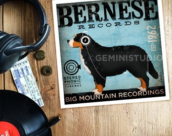 Bernese Mountain Dog Records original illustration giclee archival signed print by stephen fowler Pick A Size