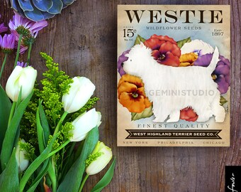 Westie West Highland Terrier Seed Company dog illustration graphic art on canvas panel by stephen fowler Pick A Size