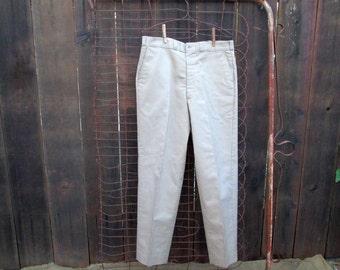 Classic Workwear Khaki Pants 70s vintage Sears khaki pants Flat front  cotton chino pants old-school quality khaki uniform 36 30