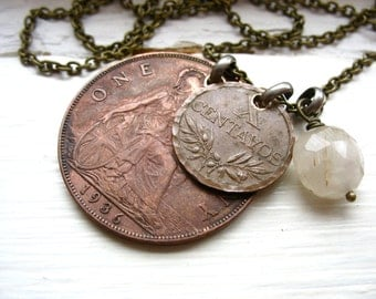 Coin Jewelry, Rutilated Quartz Gemstone Coin Charm Necklace, Quartz  Birthstone Coin Jewelry, Handmade Artisan Necklace