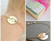 Mothers bracelet, personalized gold initial bracelet, mother of the bride, mother of the groom, silver or gold bracelet, monogram bracelet