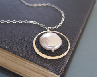 Coin pearl necklace Pearl pendant Smooth sterling silver ring Coin pearl wire frame Silver necklace Eternity ring necklace Circle necklace