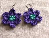 Beaded Crochet Earrings. Crochet Flowers, Dangle Earrings, Gift for her, Mother's Day Gift, Jewelry, Flower Earrings in Aqua & Purple