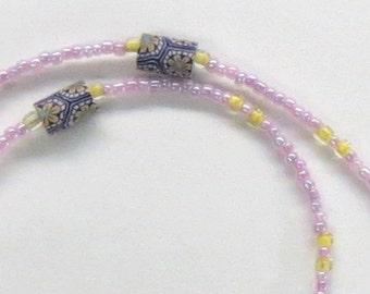 Purple Polymer Clay Beads Eyeglasses Chain