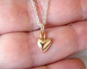 Solid Rose Gold Mini Dangle Heart on Silver Chain - Handmade rose gold heart, mixed metals
