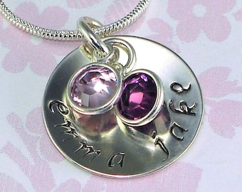 """Mothers Necklace Hand Stamped Jewelry Personalized 3/4"""" Sterling Silver Disk with Swarovski Birthstones Grandmother Mommy"""