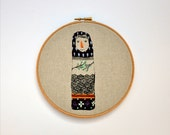 Lady Beekeeper VII - embroidery hoop art hanging wall