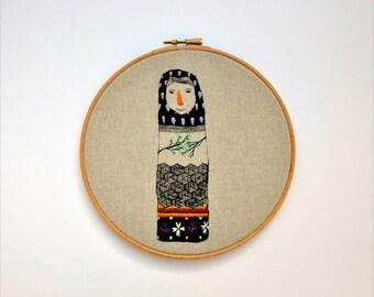 Lady Beekeeper VII - embroidery hoop art hanging wall