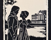 Sale 20% Off // PRIDE AND PREJUDICE Papercut - Elizabeth and Darcy at Pemberley - Hand-Cut Silhouette // Coupon Code SALE20