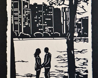 Sale 20% Off // Hand-Cut Papercut Art - A MOMENT ALONG the LAKE - Couple at the Lake Silhouette // Coupon Code SALE20