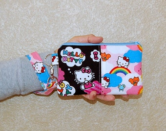 Wristlet Purse with Removable Strap and Interior Pocket - Handcrafted from Hello Kitty on Clouds Fabric