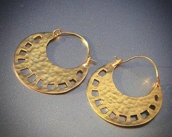 Gold Hoops For Women, Boho Chic Earrings, Large Earrings, Large Hammered Ear Hoops, Tribal Earrings, Large Ear Hoops