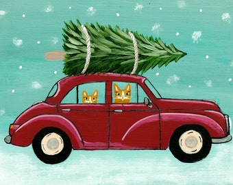 Bringing Home The Christmas Tree CATS Original Folk Art Painting