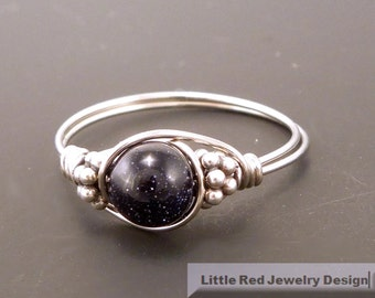 Blue Goldstone and Sterling Silver Bali Bead Ring - Any Size