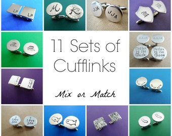 11 Sets of Personalized Cufflinks - Mix or Match Any Style - Aluminum Cuff links
