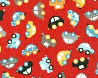 Car fabric, Boy fabric, Truck fabric, Baby boy nursery fabric, Novelty fabric, Ready Set Go 2 by Ann Kelle, Small Cars Red- Choose your cut