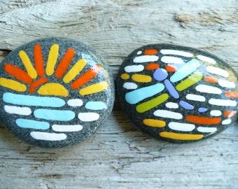 DREAMY STONES...6 hand painted beach stones, home decor,contemporary, original bright art,rocks pebbles