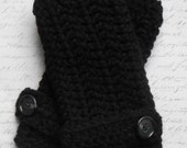 Fingerless Gloves / Wrist Warmers / Black / Buttons / Handmade Crochet