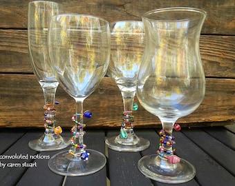 beaded wine glass charms set handmade with glass beads