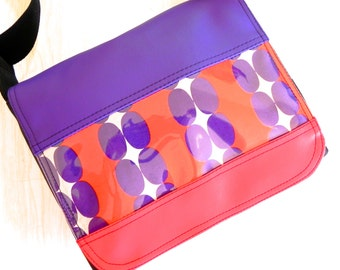 Beads cross body small satchel styled bag in purple