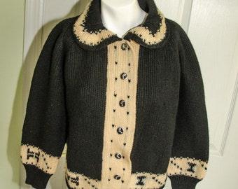Vintage 1950s Italian Black Womans Heavy Wool Knit Sweater