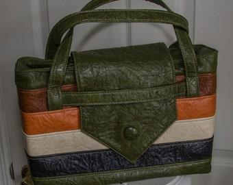 SALE Vintage 1970s Stripped Multi Color Vinyl Handbag