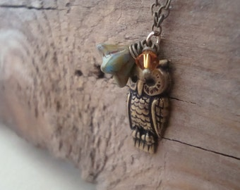 SALE Brass Owl Necklace Nature Inspired Woodland Rustic Charm Necklace Fall Jewelry Owl Jewelry Brass Jewelry Gifts Under 40 Mothers Day