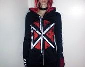 reserved/custom order - Dead Kennedys  hoodie band tshirt punk rock shirt stripes grommets mesh zip