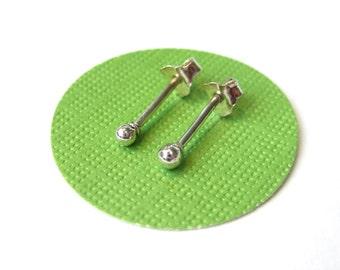 Tiny Silver Stud Earrings, Mens Studs, 2 mm studs, Tiny Ball Studs