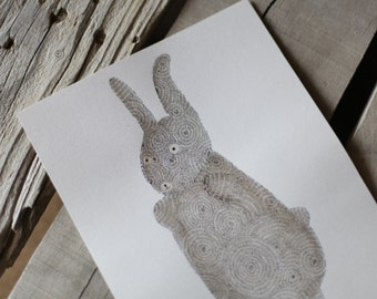 Brown Bunny Original Watercolor and Ink Painting