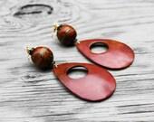 Coconut Earrings, Big Earrings, Statement Earrings, Orange Earrings, Coconut Shell Earrings, Rustic Shell Tear Drop Hoop Earrings V2