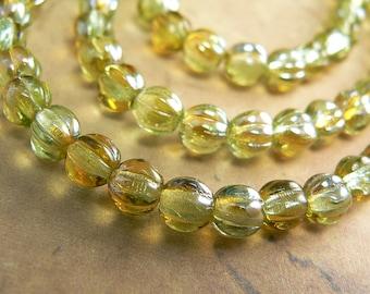 Chrysolite Celsian Czech Glass Melon Beads 5mm Green Round Fluted (50)