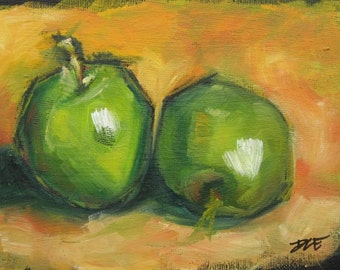 Two Green Apples. Oil Painting, Vermont country art, ARCHIVAL PRINTof original painting 8 by 10 other sizes available