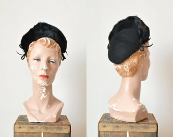 1940s Black Fur Hat --- Vintage Felt Hat