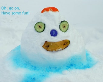 Snow Fun! -- set of 3 greeting cards -- 5x7 -- with envelope -- inside blank