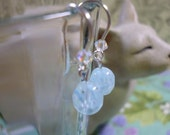 earrings for Junior Girl Baby Blue Glass and Swarovski Crystals