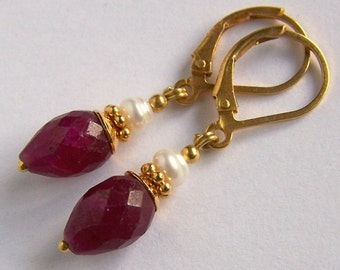 Small Ruby drop and Pearl Earrings Bali Gold Vermeil, Tiny Faceted Wine Red color White Gemstone Boho Chic Royal Handmade Pink Owl Jewelry