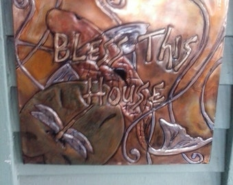 Bless This House Dragonfly and Koi Plaque