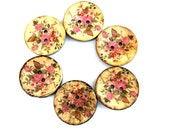 6 Buttons, coconut shell buttons 30mm beautiful flowers and colors VINTAGE STYLE